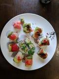 查出的牌照寿司白色 免版税库存照片