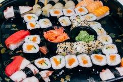 查出的牌照寿司白色 免版税库存图片