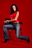 查出的牛仔裤白人妇女年轻人 免版税库存照片