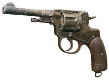 查出的生锈的六发式左轮手枪葡萄酒 图库摄影