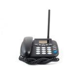 查出的电话白色 现代电话,高详细照片 黑corpuse 库存图片