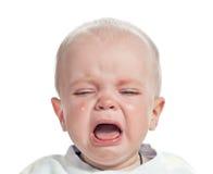 查出的男婴哭泣 免版税库存图片