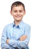 查出的男小学生白色 免版税库存图片