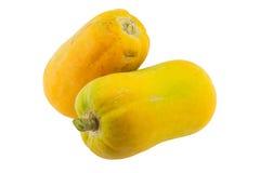 查出的番木瓜成熟白色 免版税库存照片