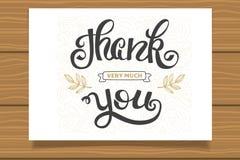 查出的看板卡礼品感谢白色您 手卡片的字法标志 模板感恩卡片,书法 免版税库存图片