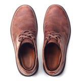 查出的精神穿上鞋子白色 顶视图 免版税库存图片