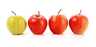 查出的红色和绿色苹果 库存图片