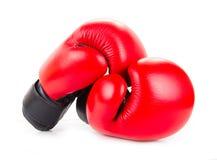 查出的红色拳击手套 免版税库存图片