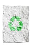查出的纸张回收起皱纹的符号 免版税图库摄影