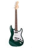 查出的美丽的电绿色吉他 免版税图库摄影