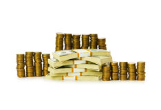 查出的美元和硬币 免版税库存图片