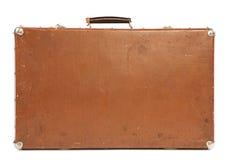 查出的老手提箱白色 免版税库存照片