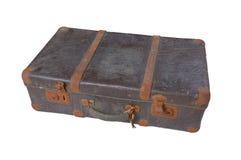 查出的老手提箱葡萄酒白色 免版税库存照片
