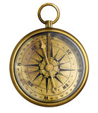 查出的老黄铜或古董古铜色指南针 免版税库存照片