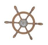 查出的老黄铜船轮子。 免版税库存照片