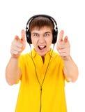查出的耳机供以人员空白年轻人 免版税库存图片