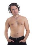 查出的耳机听人音乐白色 图库摄影