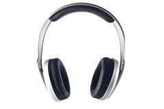 查出的耳机 免版税库存图片