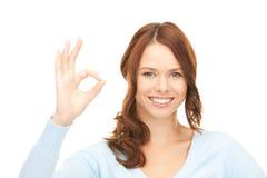 查出的背景好显示符号白人妇女 免版税库存照片