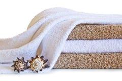 查出的背景轰击空白的毛巾 图库摄影