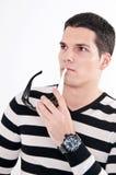 查出的背景玻璃供以人员空白年轻人 免版税库存图片