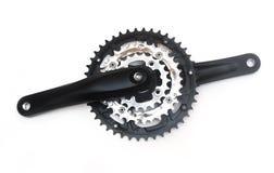 查出的自行车chainring的crankset 免版税库存照片