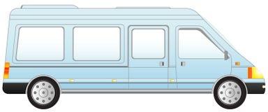 查出的蓝色微型公共汽车 免版税库存照片