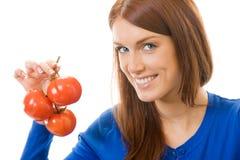 查出的蕃茄妇女 图库摄影
