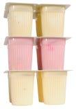 查出的装箱酸奶 免版税库存照片