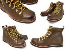 查出的褐色穿上鞋子白色 免版税库存图片