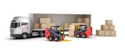 查出的设计铲车装载我自己的卡车 向量例证