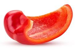 查出的辣椒粉胡椒红色种子切了白色 免版税图库摄影