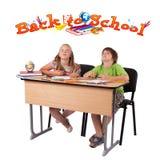 查出的返回开玩笑学校主题对白色 图库摄影