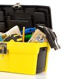 查出的配件箱用工具加工白色 免版税库存图片