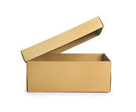 查出的配件箱纸板遮蔽白色 正面图 免版税库存照片