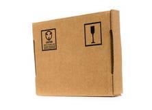 查出的配件箱纸板遮蔽白色 库存图片