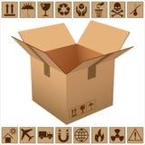 查出的配件箱纸板遮蔽白色 向量例证