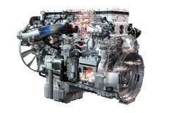 查出的重型卡车柴油引擎 免版税库存照片