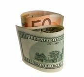 查出的银行接近的货币注意白色 免版税库存图片