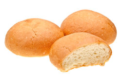 查出的面包滚白色 库存照片