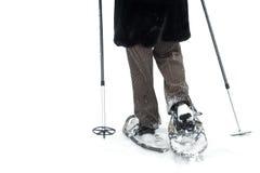 查出的鞋子雪 免版税库存照片