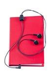 查出的音频书耳机 免版税库存图片