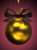 查出的黄色圣诞节球 免版税库存照片