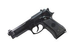 查出的黑色手枪 免版税库存照片