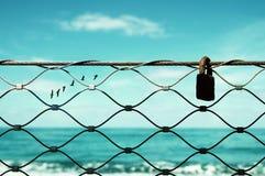 查出的黑色概念自由 飞行在天际的图象篱芭和老生锈的锁和鸟 一切是可能的 免版税库存图片