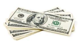 查出的货币堆 免版税图库摄影