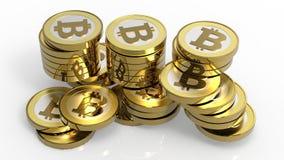 查出的bitcoins堆积白色 免版税库存图片