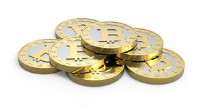 查出的bitcoins堆积白色 免版税库存照片