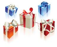 查出的christmastree装饰红色银 免版税库存照片