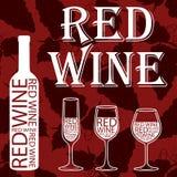 查出的om红色waite酒 在红色背景的葡萄样式 库存图片